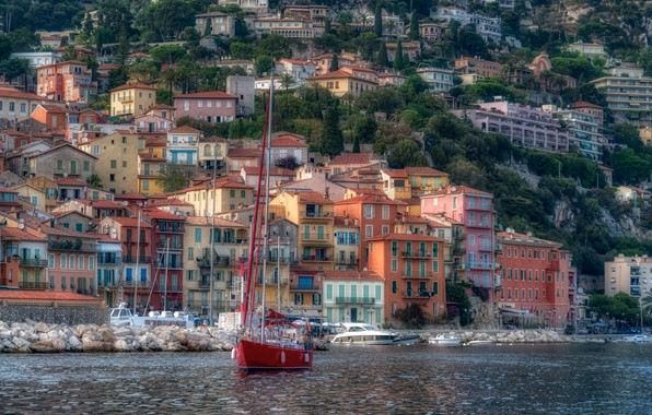 Picture France, building, home, yachts, promenade, France, harbour, Cote d'azur, French Riviera, Villefranche-sur-Mer, Villefranche-sur-Mer