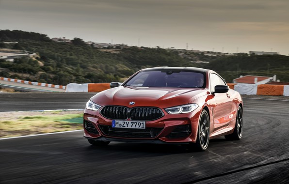 Picture coupe, turn, BMW, track, Coupe, 2018, 8-Series, dark orange, M850i xDrive, Eight, G15