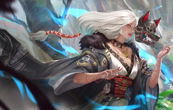 Picture girl, fantasy, spirit, wolf, artist, digital art, artwork, mask, fantasy art, japanese, kimono, fantasy girl, …