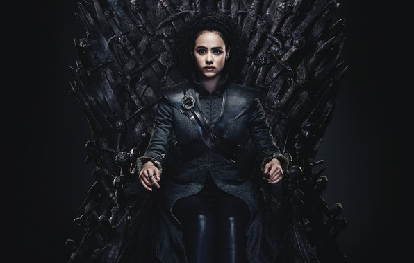 Picture Game of Thrones, iron, sitting, throne, Nathalie Emmanuel, Missandei