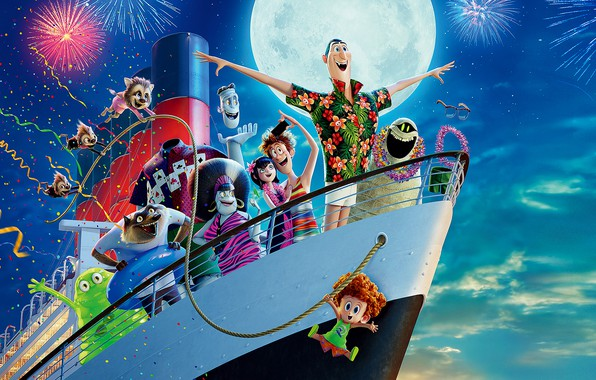 Picture the sky, the moon, ship, cartoon, salute, fireworks, fun, characters, Hotel Transylvania 3, Monsters on ...