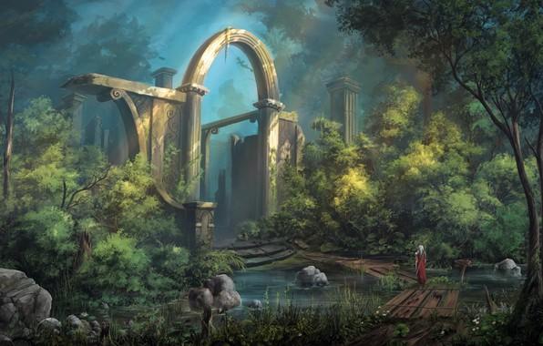 Picture sword, fantasy, soldier, trees, landscape, weapon, bridge, ruins, digital art, artwork, warrior, building, fantasy art, …