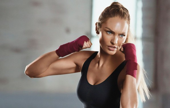 Picture sport, model, look, blonde, Candice Swanepoel, fitness, gloves