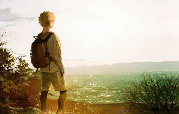 Picture grass, space, My hero Academy, Boku No Hero Academy, Bakuga Katsuki
