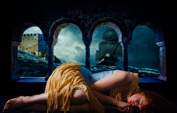 Picture sea, wave, girl, storm, castle, the ocean, ship, sleep, fortress, cloudy, sleeping