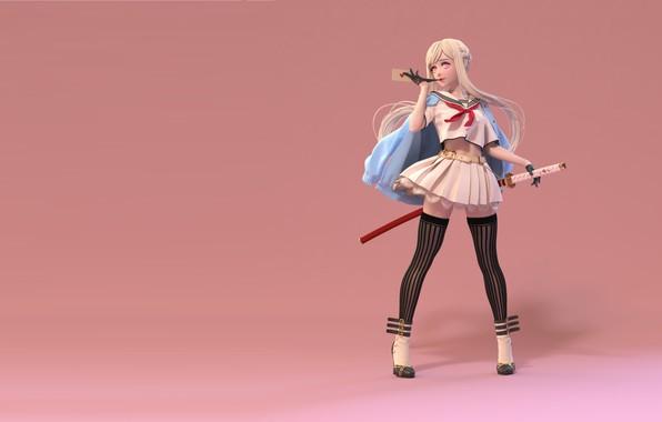 Picture letter, rendering, anime, art, girl, sailor, Carlos Lee, female exercise