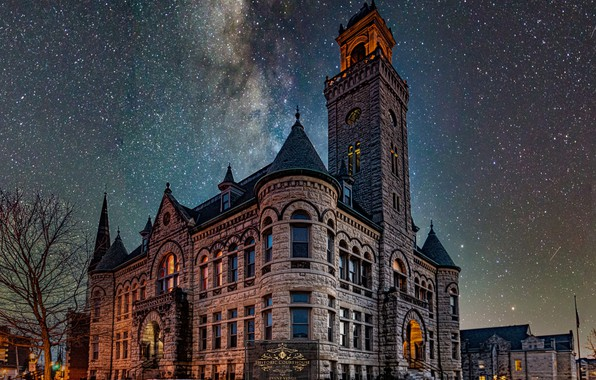 Picture the building, stars, Wisconsin, architecture, Wisconsin, starry sky, Waukesha, Historic Courthouse, Waukesha
