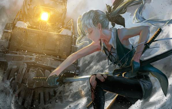 Picture smoke, rails, train, the engine, katana, on my knees, Konpaku Youmu, Touhou Project, in the …