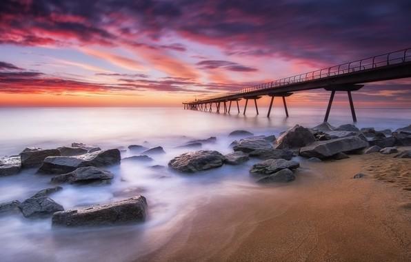 Picture sea, beach, the sky, stones, paint, the evening, morning, pierce, a pleasure