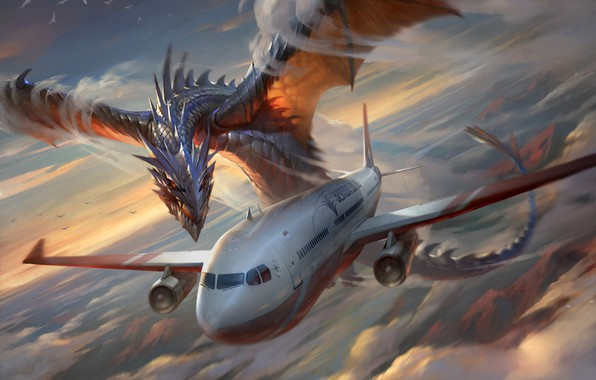 Picture The sky, Clouds, Dragon, The plane, Liner, Flight, Wings, Monster, Attack, Clouds, Sky, Dragon, Monster, …