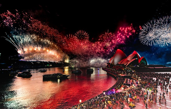 Picture night, blue, red, bridge, the city, lights, darkness, people, holiday, smoke, the crowd, salute, Australia, …