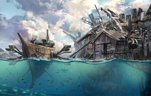 Picture Water, Sea, Figure, The city, Boat, Ship, Building, Fantasy, Art, Fiction, Concept Art, Steampunk, Steampunk, ...