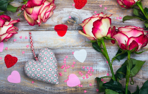 Picture flowers, heart, roses, hearts, love, heart, wood, pink, romantic, roses