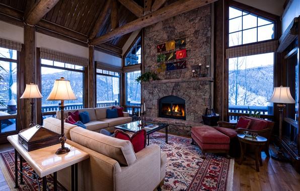 Picture living room, interior, fireplace, Colorado, Arrowhead