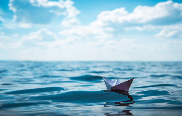 Picture ocean, water, paper boat