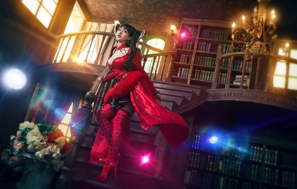 Picture look, girl, light, flowers, red, lights, pose, glare, style, the dark background, castle, room, books, …