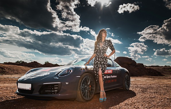 Picture the sun, clouds, landscape, model, portrait, makeup, figure, dress, hairstyle, brown hair, legs, is, car, …