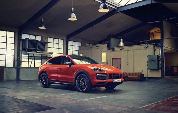 Picture Porsche, Orange, Turbo, Cayenne, Coupe, Cut