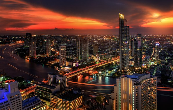Picture night, the city, Thailand, Bangkok
