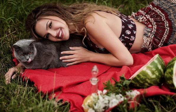 Picture cat, cat, girl, pose, smile, mood, plaid, Alina Troeva, by Анна Конофалова