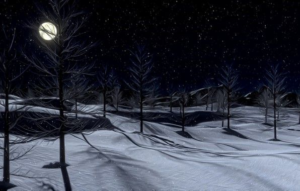 Picture winter, snow, night, rendering, the moon, silence, frost, shadows, moonlight, picture