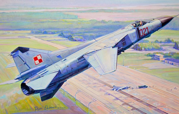 Picture figure, fighter, flight, runway, the airfield, The MiG-23, OKB MiG, Polish air force