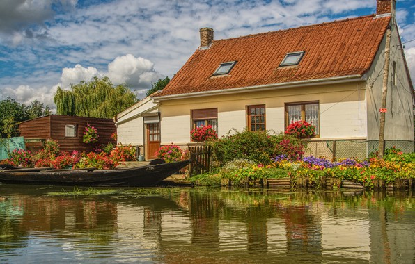 Picture greens, summer, clouds, light, flowers, comfort, lake, house, pond, reflection, river, shore, boat, Windows, beauty, …