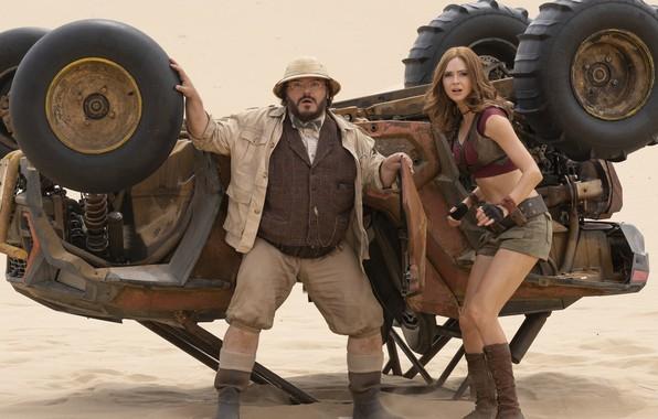 Picture car, girl, desert, actor, man, movie, film, actress, Jack Black, Karen Gillan, Jumanji: The next …