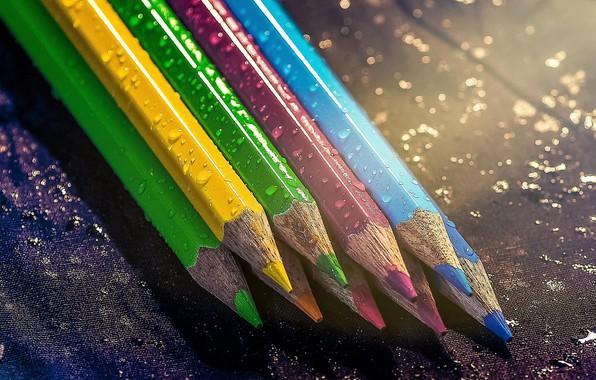Picture drops, photo, colored, pencils