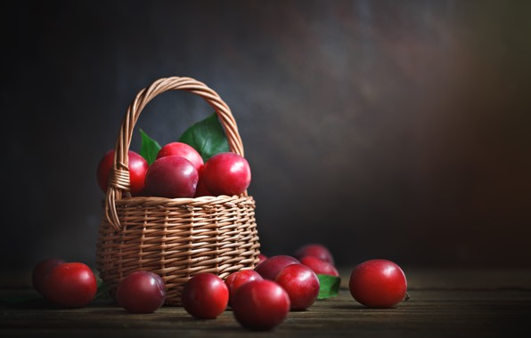 Picture background, fruit, basket, plum