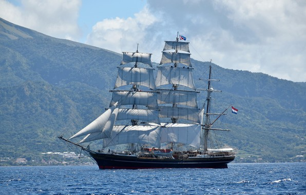 Picture sea, mountains, sailboat, sails, The Caribbean sea, Martinique