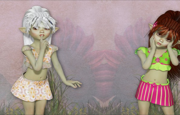 Picture rendering, girls, two, art, elf, dolls