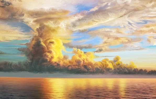 Picture sea, clouds, nature, art, Storm, Nina Vels