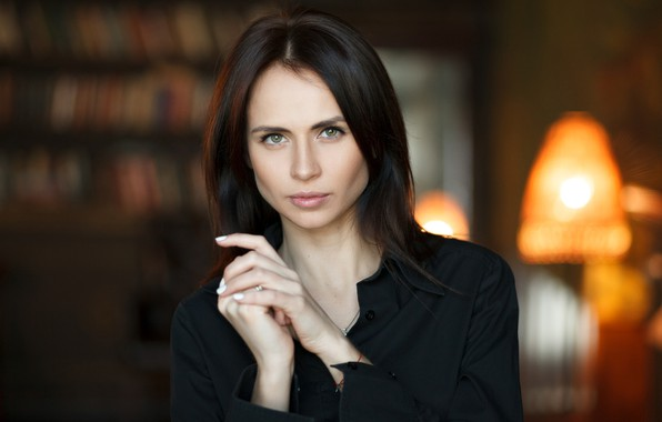 Picture look, pose, lamp, room, model, portrait, makeup, brunette, hairstyle, shirt, in black, bokeh, Valeria, Vasiliy …