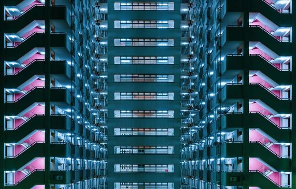 Picture light, house, Windows, balconies