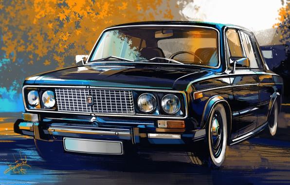 Picture trees, street, car, painting, Lada, VAZ, lada, 2101, Alexander Sidelnikov