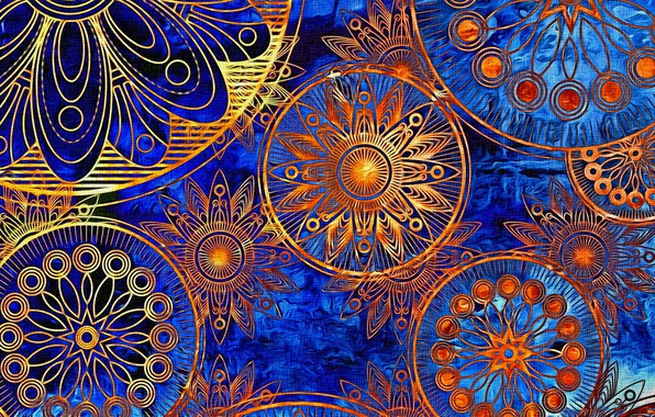Picture bright colors, abstraction, background, figure, ornament, picture, canvas, Indian pattern, acrylic