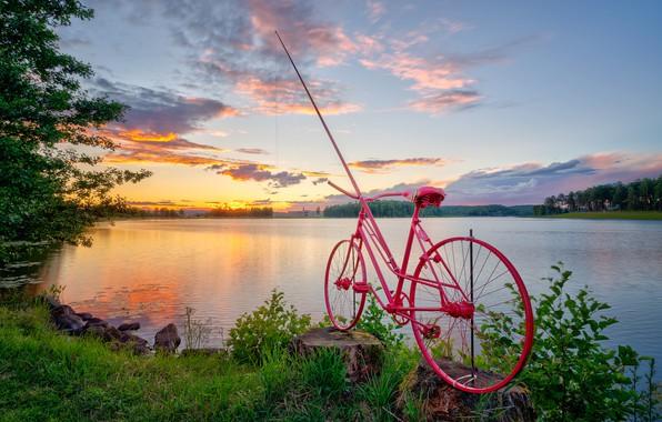 Picture bike, river, Norway, Sarpsborg
