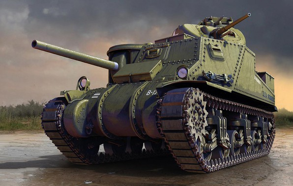 Picture US Army, M3 Lee, American medium tank, with riveted housing