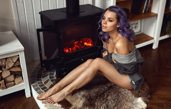 Picture girl, pose, fire, model, portrait, makeup, hairstyle, skin, wood, fur, fireplace, legs, jacket, sitting, on …