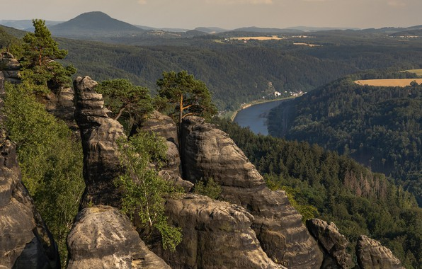 Picture trees, landscape, mountains, nature, river, rocks, Elba, forest, Ralf Kaiser