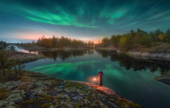 Picture the sky, trees, night, lights, stones, woman, stars, lantern, Lake Ladoga, Ladoga, Alexander Kukanov, Skerries