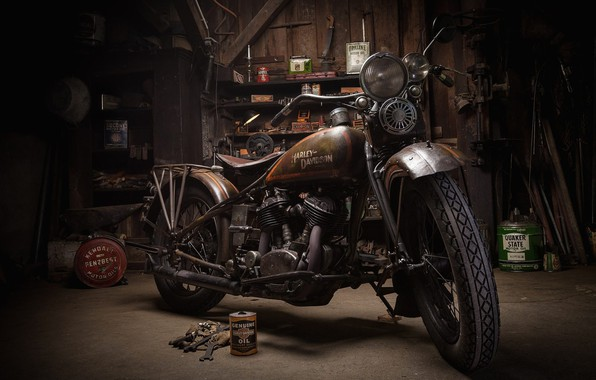 Picture Harley-Davidson, Garage, Motorcycle