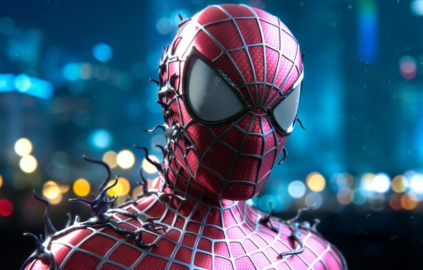 Picture glare, background, art, costume, comic, bokeh, Spider-man, fan art, MARVEL, Spider-Man