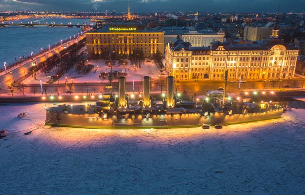 Picture winter, snow, the city, river, ship, building, home, the evening, Peter, lighting, Saint Petersburg, monument, …