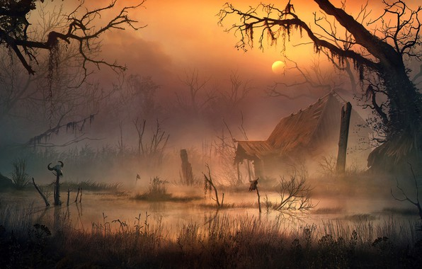 Picture swamp, the stench, Vladimir Manyukhin, The swamp witch