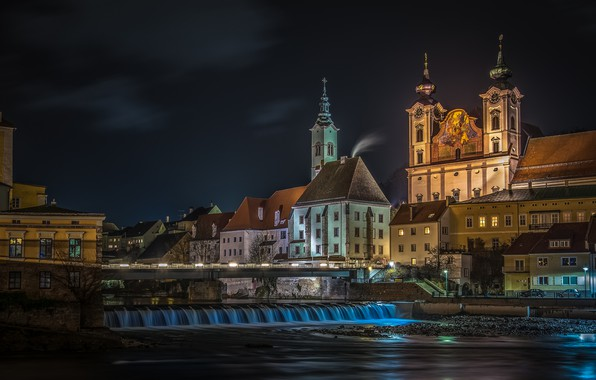 Picture night, the city, river, building, home, Austria, Church, Steyr