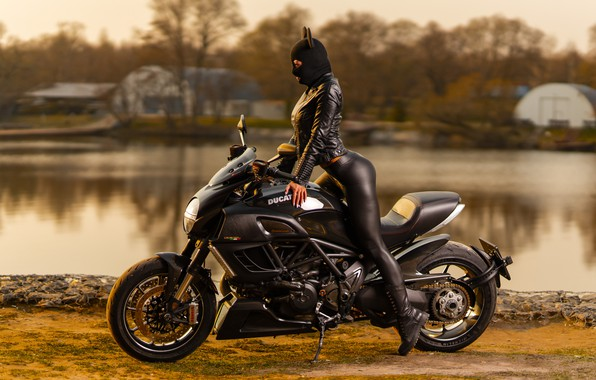 Picture water, girl, pose, hat, jacket, motorcycle, Ducati, ears, Ilya Pistols