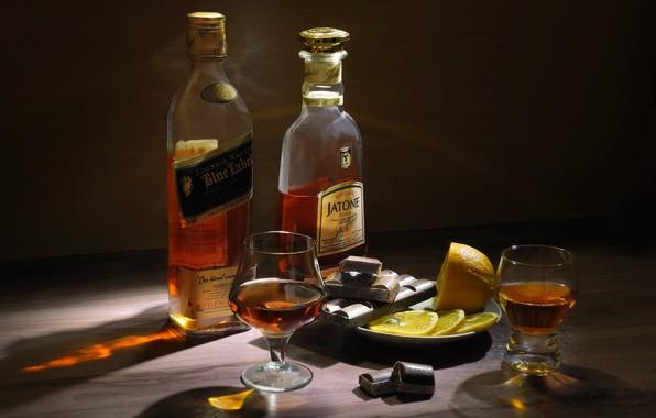 Picture lemon, chocolate, glasses, bottle, still life, cognac, whiskey, booze, saucer, slices, Sergey Pounder