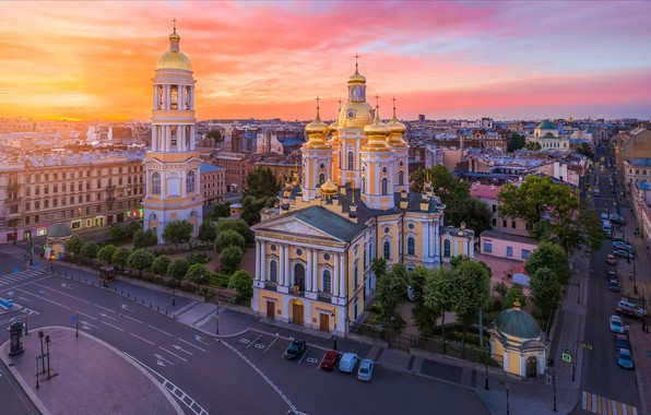 Picture the city, dawn, building, road, tower, home, morning, Peter, Saint Petersburg, dome, the bell tower, …